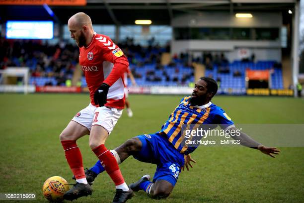 Charlton Athletic's Jonny Williams and Shrewsbury Town's Anthony Grant battle for the ball Shrewsbury Town v Charlton Athletic Sky Bet League One...