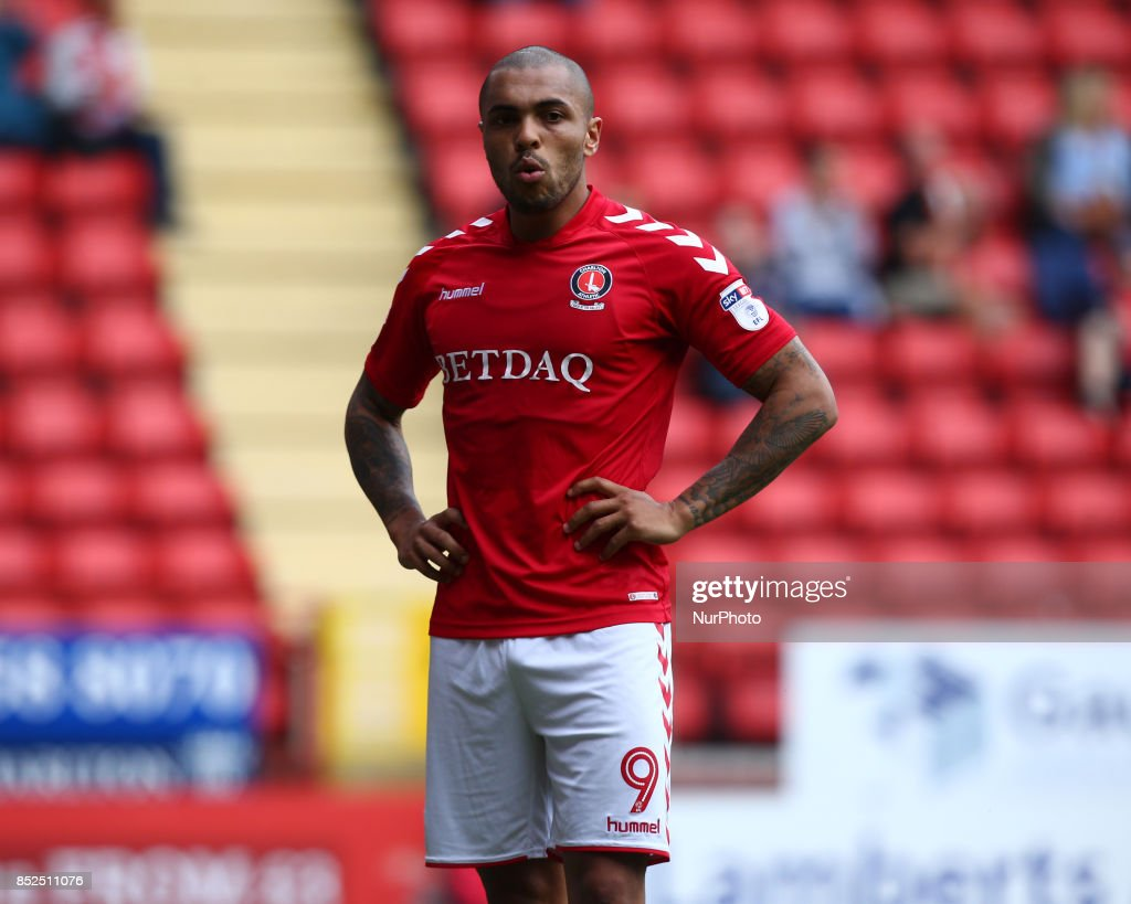 Charlton Athletic's Josh Magennis during Sky Bet League One match between Charlton Athletic against Bury at The Valley Stadium London on 23 Sept 2017