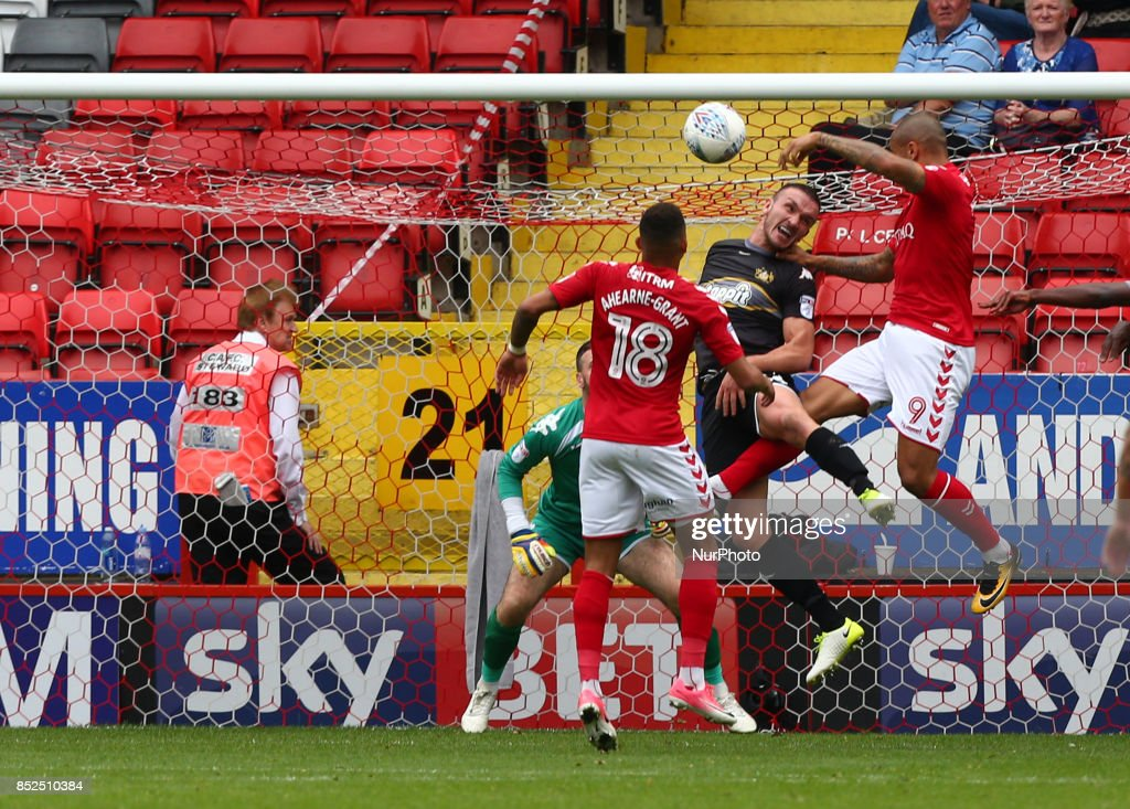 Charlton Athletic's Josh Magennis scores his sides equalising goal to make the score 1-1 during Sky Bet League One match between Charlton Athletic against Bury at The Valley Stadium London on 23 Sept 2017