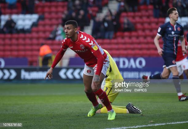 Charlton Athletic's Karlan Grant celebrates scoring his side's first goal of the game Charlton Athletic v Walsall Sky Bet League One The Valley