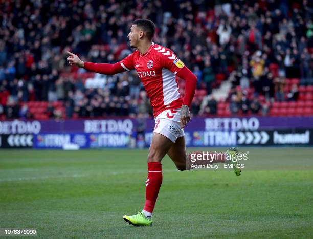 Charlton Athletic's Karlan Grant celebrates scoring the first goal Charlton Athletic v Walsall Sky Bet League One The Valley