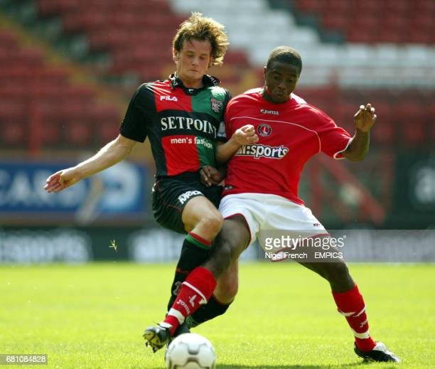 Charlton Athletic's Kevin Lisbie and NEC Nijmegen's Rob Wielaert