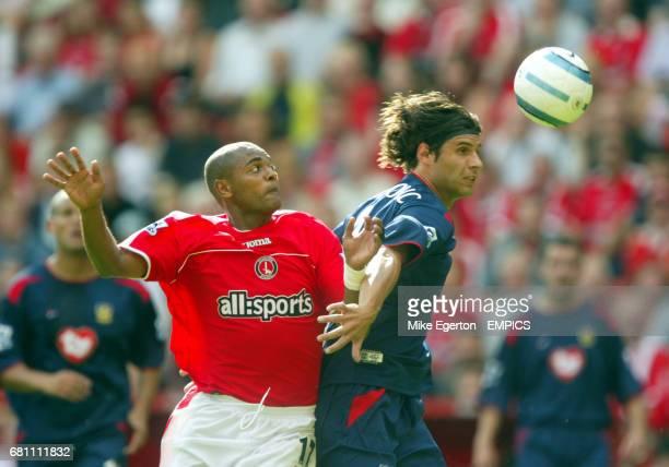 Charlton Athletic's Kevin Lisbie and Portsmouth's Dejan Stefanovic