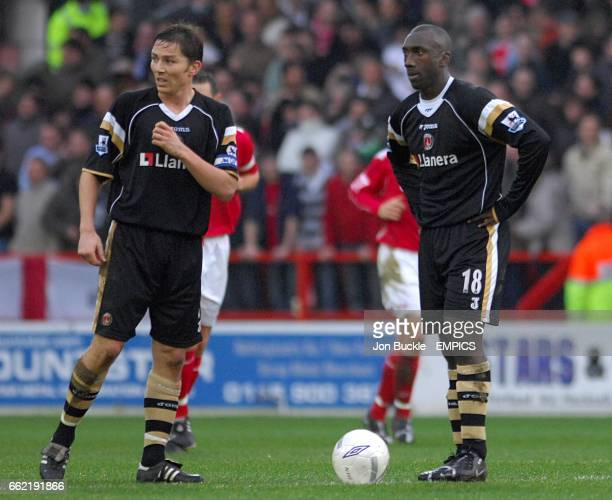 Charlton Athletic's Matt Holland and Jimmy Floyd Hasselbaink stand dejected as the wait to kick off after Nottingham Forest's Junior Agogo scored the...