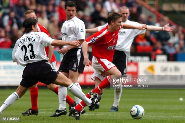 Charlton Athletic's Matt Holland tackled by Bolton Wanderers' Vincent Candela
