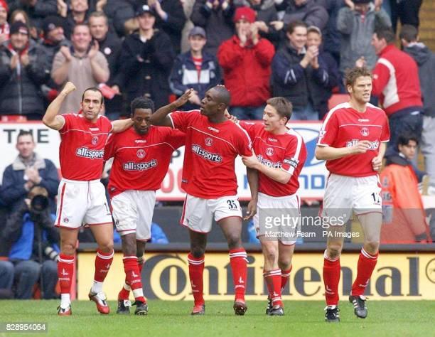 Charlton Athletic's Paolo Di Canio, Jason Euell, Carlton Cole, Matt Holland and Hermann Hreidarsson celebrate Cole's opening goal against Blackburn...