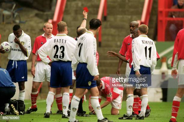Charlton Athletic's Richard Rufus is sent off by referee Alan Wilkie after a foul on Leeds United's Matthew Jones