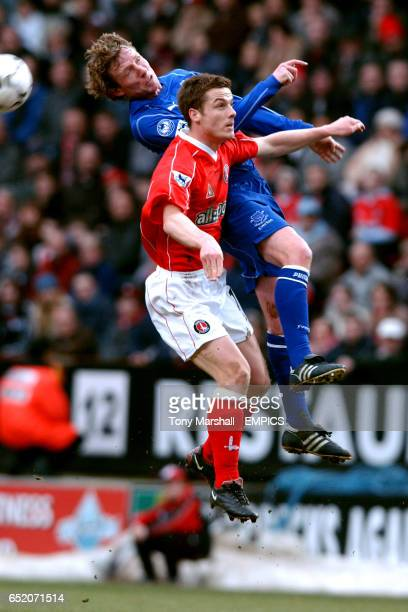 Charlton Athletic's Scott Parker jumps for a header with Everton's Scot Gemmill