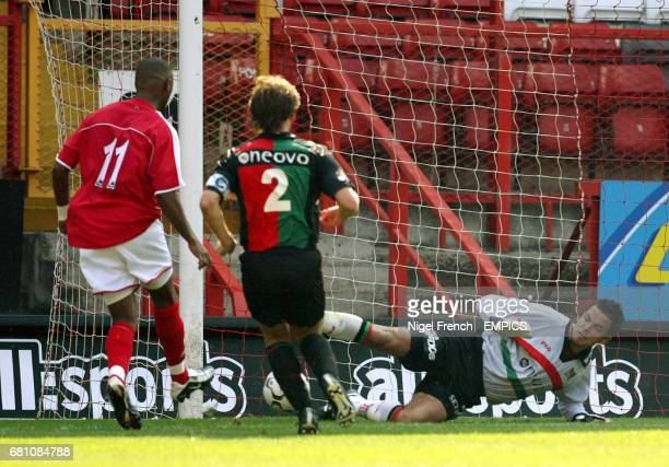 Charlton Athletic's Shaun Bartlett scores the first goal of the game past NEC Nijmegen's keeper Dennis Gentenaar