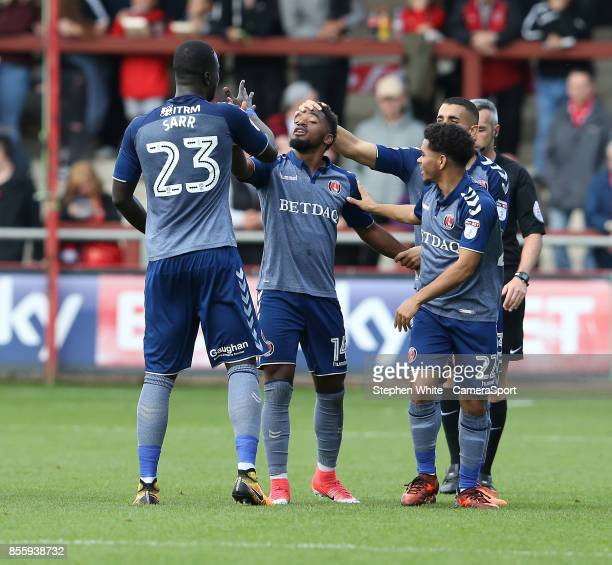 Charlton Athletic's Tariqe Fosu celebrates scoring his side's second goal with teammates MouhamadouNaby Sarr and Jay Dasilva during the Sky Bet...