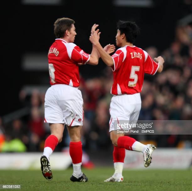 Charlton Athletic's Zheng Zhi celebrates his goal with team mate Matt Holland