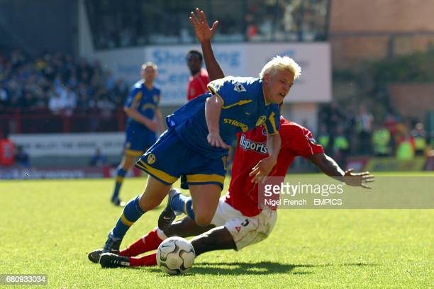 Charlton Athletics's Richard Rufus brings down Leeds United's Alan Smith to give away a penalty from which Ian Harte scored his teams 2nd goal of the...