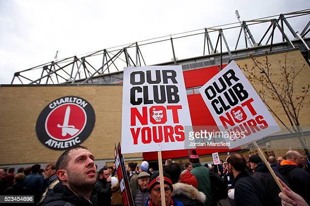 Charlton fans protest outside the ground ahead of the Sky Bet Championship match between Charlton Athletic and Brighton and Hove Albion at The Valley...