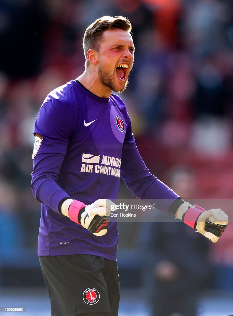 Charlton goalkeeper Ben Hamer celebrates after the final whistle during the npower Championship match between Charlton Athletic and Leeds United at the Valley on April 06, 2013 in London, England.