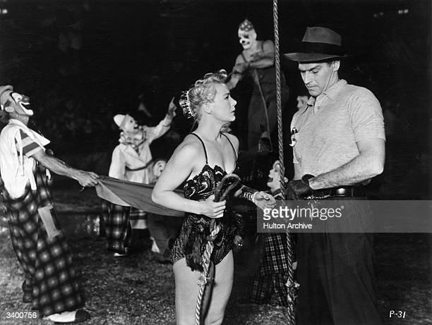 Charlton Heston and Betty Hutton star as circus artistes in the film 'The Greatest Show On Earth' directed by Cecil B DeMille for Paramount