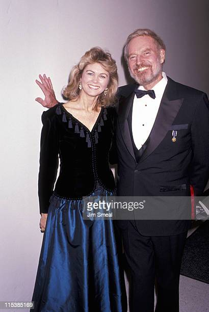 Charlton Heston and Maria Cooper Janis during Tribute to Gary Cooper at UCLA in Los Angeles California on November 1 1989 at UCLA in Los Angeles...