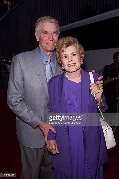 Charlton Heston and wife Lydia arrive for the world premiere of the 20th Century Fox film 'Planet of the Apes' at the Ziegfeld Theater in New York...