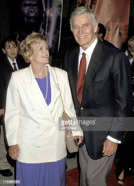 Charlton Heston and wife Lydia during 30th Anniversary Screening of Planet of The Apes at Academy of Motion Pictures Arts Sciences in Beverly Hills...