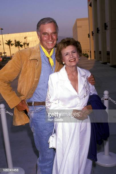 Charlton Heston and wife Lydia during Golden Boot Awards at Burbank Hilton Hotel in Burbank CA United States