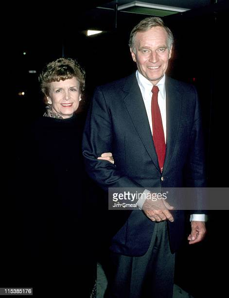 """Charlton Heston and wife Lydia during """"The Colbys"""" Season Wrap Party at Beverly Wilshire Hotel at Beverly Wilshire Hotel in Beverly Hills,..."""