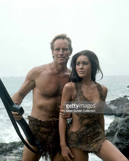 Charlton Heston as George Taylor and Linda Harrison as Nova in a scene from director Franklin Schaffner's film, 'Planet of the Apes', 1968.
