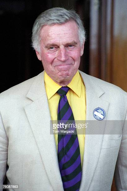 Charlton Heston attends the Wimbledon Tennis Championships Mens Final at the All England Club on July 3, 1994 in London.