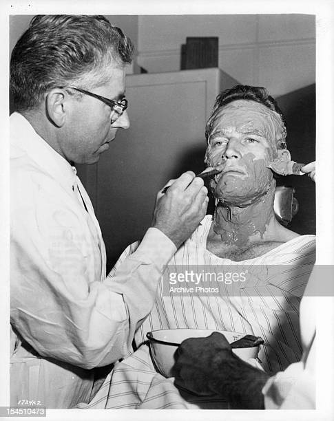 Charlton Heston begins to get his face casted in publicity portrait from the film 'BenHur' 1959
