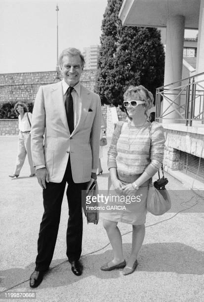 Charlton Heston et sa femme Lydia Clarke lors de l'Open de tennis de MonteCarlo le 26 juin 1983 Monaco