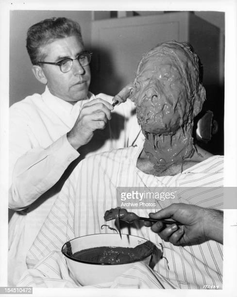 Charlton Heston gets his face casted in publicity portrait from the film 'BenHur' 1959