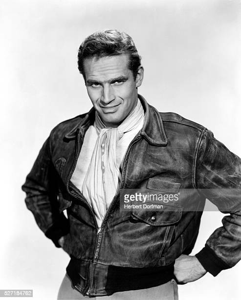 Charlton Heston in Leather Bomber Jacket