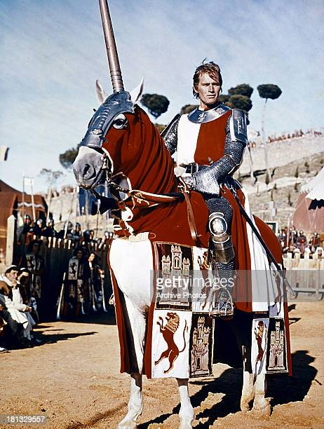 Charlton Heston sits atop a horse in a scene from the film 'El Cid' 1961