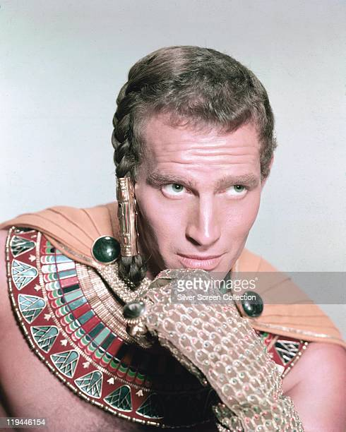 Charlton Heston , US actor, in costume in a publicity portrait issued for the film, 'The Ten Commandments', 1956. The biblical epic, directed by...