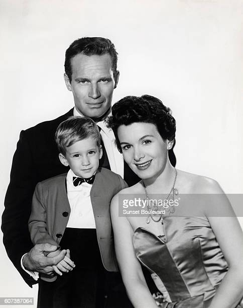 Charlton Heston with his wife, Lydia Clarke and son Fraser.