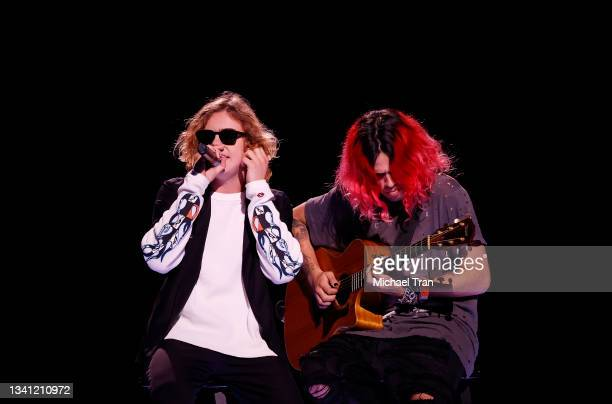 Charlton Kenneth Jeffrey Howard aka The Kid Laroi performs onstage during the 2021 iHeartRadio Music Festival - Night Two held at T-Mobile Arena on...
