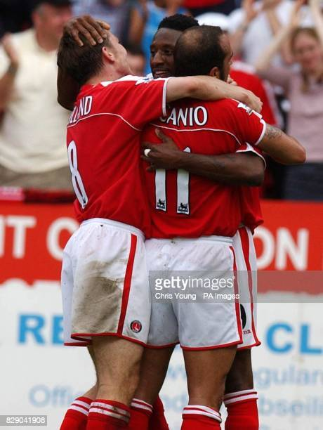 Charlton's Jason Euell celebrates his first half goal against Southampton with team mates Paolo di Canio and Matt Holland during their Barclaycard...