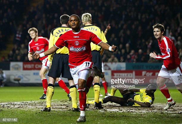 Charlton's Shaun Bartlett celebrates scoring the opening goal against Liverpool during the Premiership match at The Valley in London 01 February 2005...