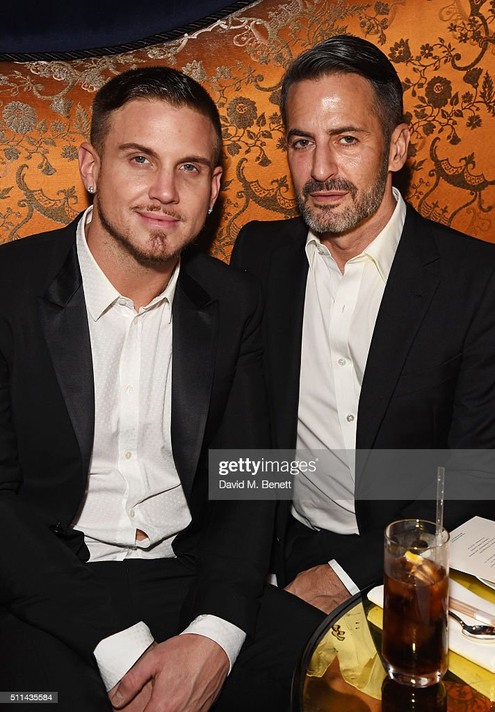 Charly deFrancesco (L) and Marc Jacobs attend the Marc Jacobs Beauty dinner at the Club at Park Chinois on February 20, 2016 in London, England.