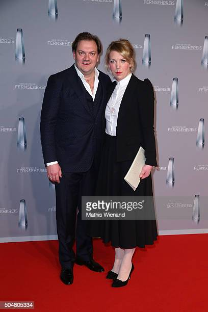 Charly Huebner and his wife Lina Beckmann attend the German Television Award at Rheinterrasse on January 13 2016 in Duesseldorf Germany