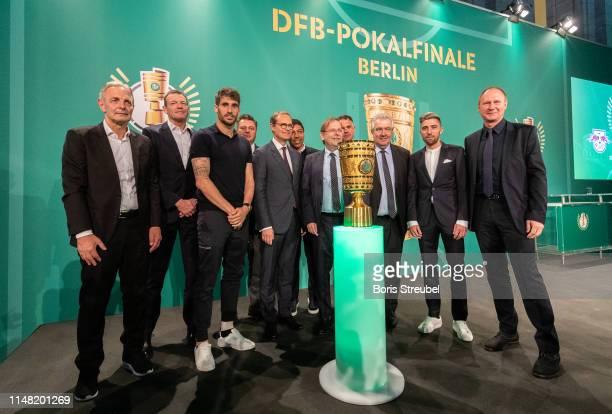 Charly Koerbel representative of 1FC Frankfurt Andreas Jung and Javi Martinez of FC Bayern Muenchen Andreas Geisel Senator of Interior and Sport of...