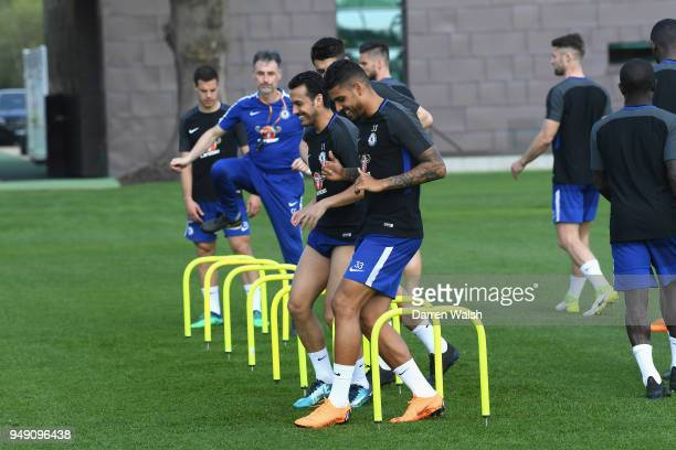 Charly Musonda and Emerson Palmieri of Chelsea during a training session at Chelsea Training Ground on April 20 2018 in Cobham England