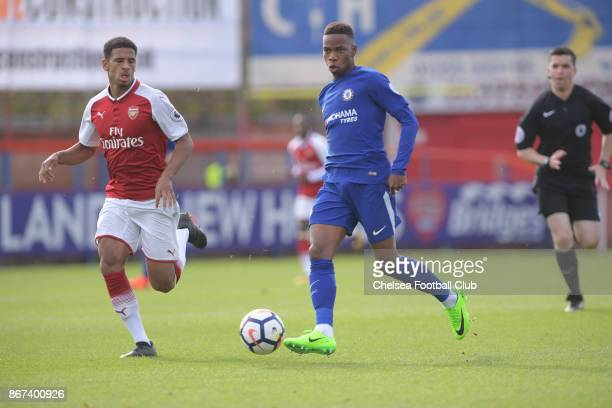 Charly Musonda Jr during the Premier League 2 match between Chelsea and Arsenal at on October 28 2017 in Aldershot England