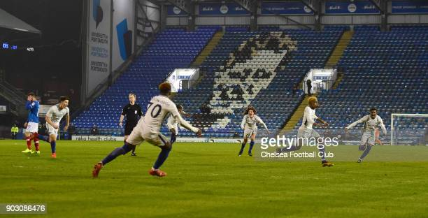 Charly Musonda Jr of Chelsea celebrates his second goal during the U23 Checkatrade Trophy match between Portsmouth and Chelsea at Fratton Park on...
