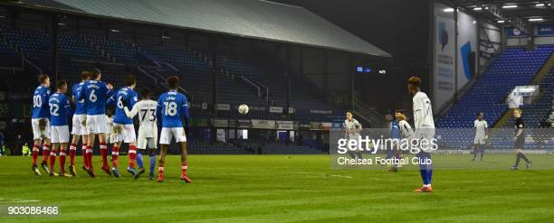 Charly Musonda Jr of Chelsea scores his second goal from a free kick during the U23 Checkatrade Trophy match between Portsmouth and Chelsea at...