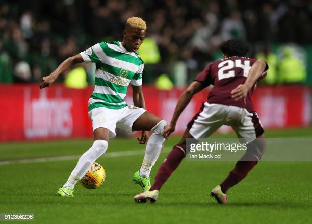 Charly Musonda of Celtic controls the ball during the Scottish Premier League match between Celtic and Heart of Midlothian at Celtic Park on January...