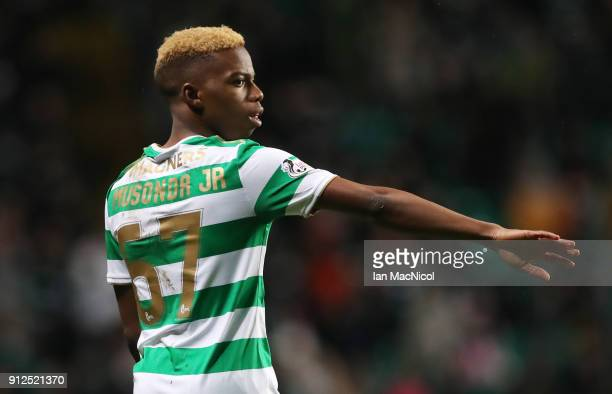 Charly Musonda of Celtic is seen during the Scottish Premier League match between Celtic and Heart of Midlothian at Celtic Park on January 30 2018 in...