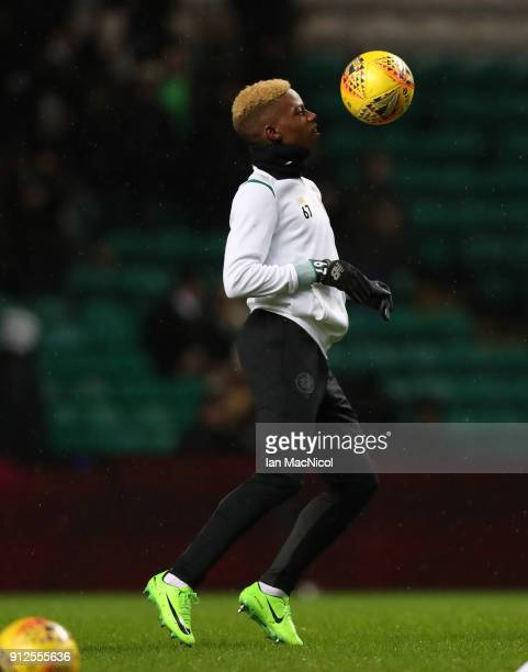 Charly Musonda of Celtic is seen prior to the Scottish Premier League match between Celtic and Heart of Midlothian at Celtic Park on January 30 2018...