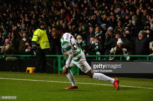 Charly Musonda of Celtic reacts as he celebrates the Celtic goal by team mate Callum McGregor during UEFA Europa League Round of 32 match between...