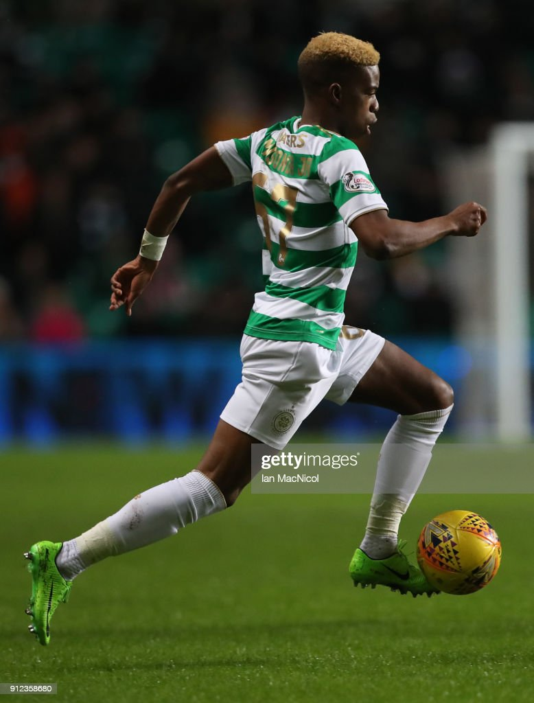 Charly Musonda of Celtic runs with the balll during the Scottish Premier League match between Celtic and Heart of Midlothian at Celtic Park on January 30, 2018 in Glasgow, Scotland.