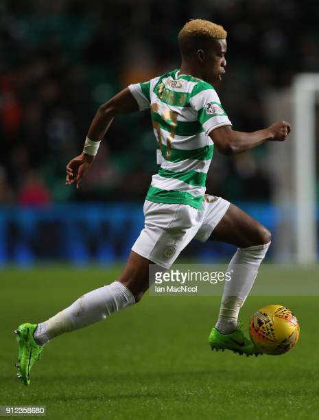 Charly Musonda of Celtic runs with the balll during the Scottish Premier League match between Celtic and Heart of Midlothian at Celtic Park on...