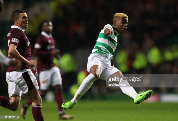 Charly Musonda of Celtic shoots at goal during the Scottish Premier League match between Celtic and Heart of Midlothian at Celtic Park on January 30...